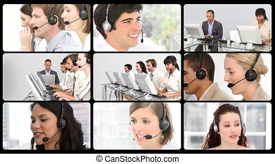 Montage of service customer agents