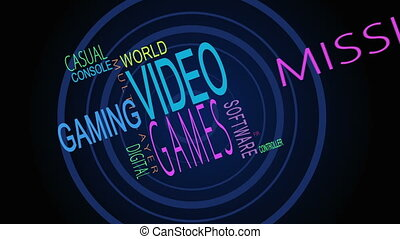 Montage of video game words on black background