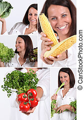 Montage of woman holding a variety of vegetables