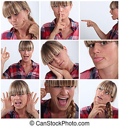 Montage of woman pulling a variety of facial expressions