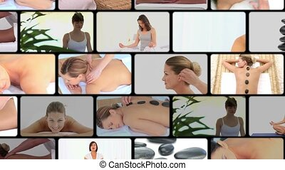 Montage of women at the spa