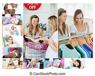 Montage of women doing shopping then relaxing at home