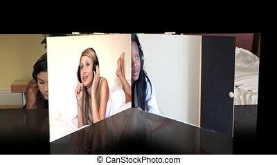Montage of women listening music