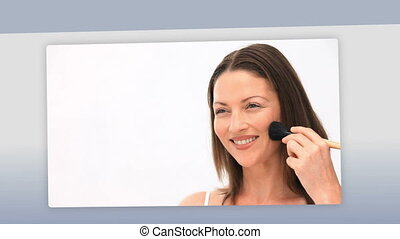 Montage of women putting make up