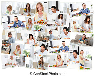 Montage of young adults cooking and eating in the kitchen