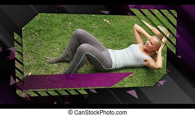 montage, outdoo, exercisme, gens