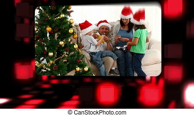 montage, over, families, vieren