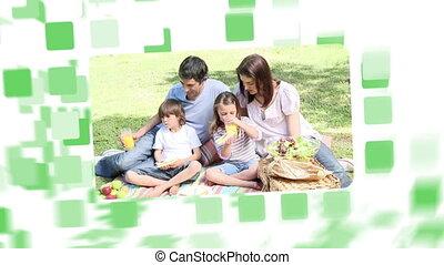 montage, parc, sur, familles