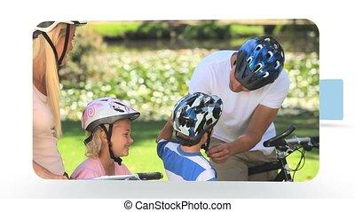 montage, park, families, spelen samen