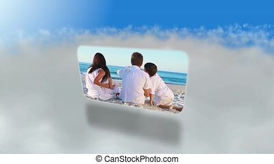 montage, plage, familles