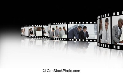montage, plusieurs, présentation, business