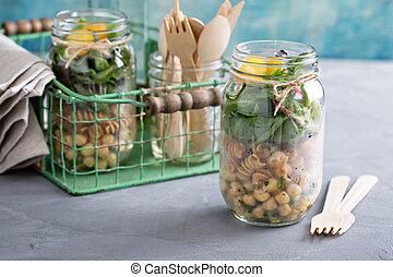 montage, pot, salade, maçon