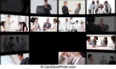Montage presenting people at work - Montage with different...