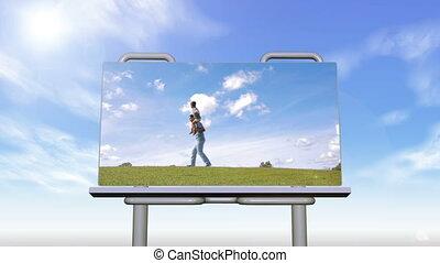 montage, projection, famille, écrans