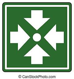 montage, punkt, grün, zeichen