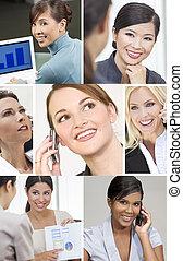 montage, réussi, femmes, business