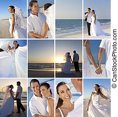 montage, sandstrand, paar, wedding, romantische