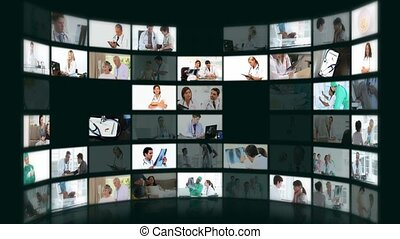 montage, situations, différent, monde médical