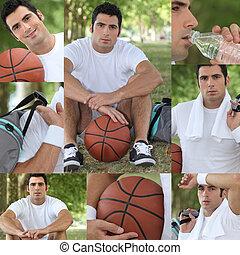 montage, spieler, basket-ball