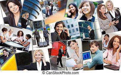 montage, succesrige, kvinder branche