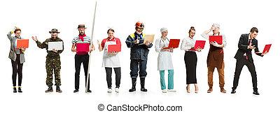 montage, sur, différent, professions