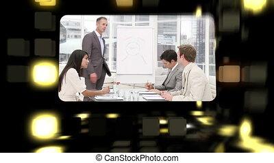montage, sur, réunions, business