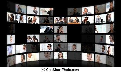 montage, téléphone, hommes affaires, bureau, conversation