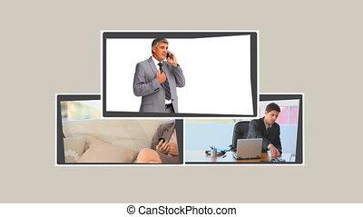 montage, téléphone, hommes affaires