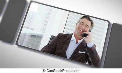 montage, téléphone, professionnels
