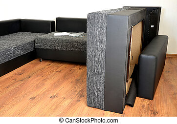 montage, tissu, moderne, sofa