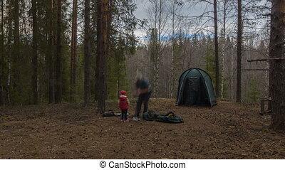 montage, touriste, timelapse, wood., rest., tente