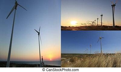 montage, turbine, 2, wind