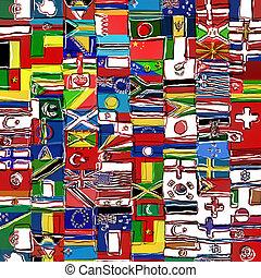 montage, värld, sketchy, flagga
