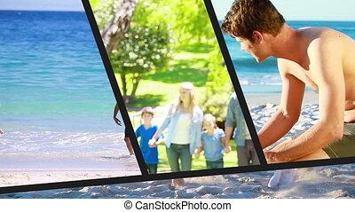 montage, vacances, famille