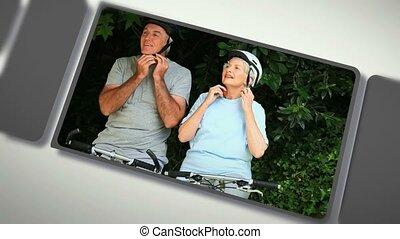 montage, van, bejaarden, stellen, het genieten van