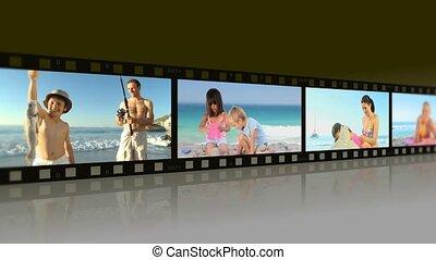 montage, van, families, het genieten van, momenten, samen, op, een, strand