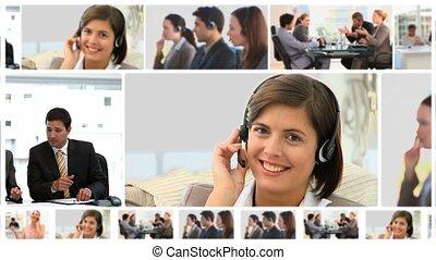 montage, van, het communiceren, zakenlui