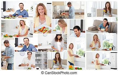 montage, van, jonge volwassenen, het bereiden, maaltijden