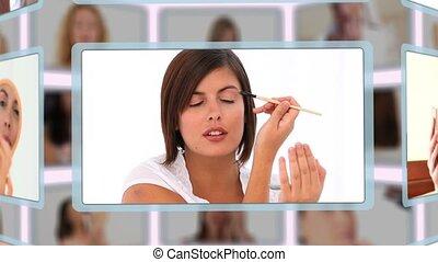 montage, van, knappe , vrouwen, het puting, make-up, op, in,...
