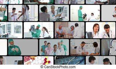 montage, van, mensen in het, ziekenhuis