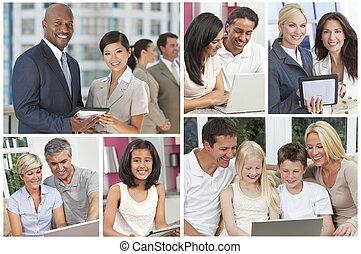 montage, van, mensen, uisng, moderne, computertechnologie