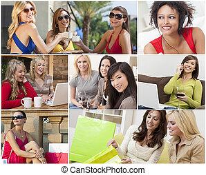 montage, van, moderne, vrouwen, vrije tijd, levensstijl