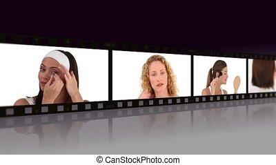 montage, van, mooie vrouwen, het puting, make-up, op, in, een, studio