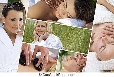 montage, van, mooie vrouwen, relaxen, op, spa