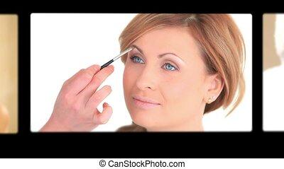 montage, van, vrouwen, making-up