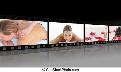 montage, van, vrouwen ontspannend, in, een, spa, centrum