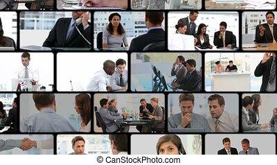 montage, van, zakenlui, communic