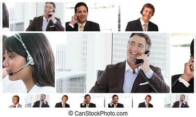 montage, van, zakenlui, het communiceren