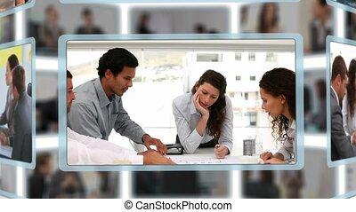 montage, van, zakenlui, in, anders, toestanden, op het werk