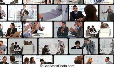 montage, van, zakenlui